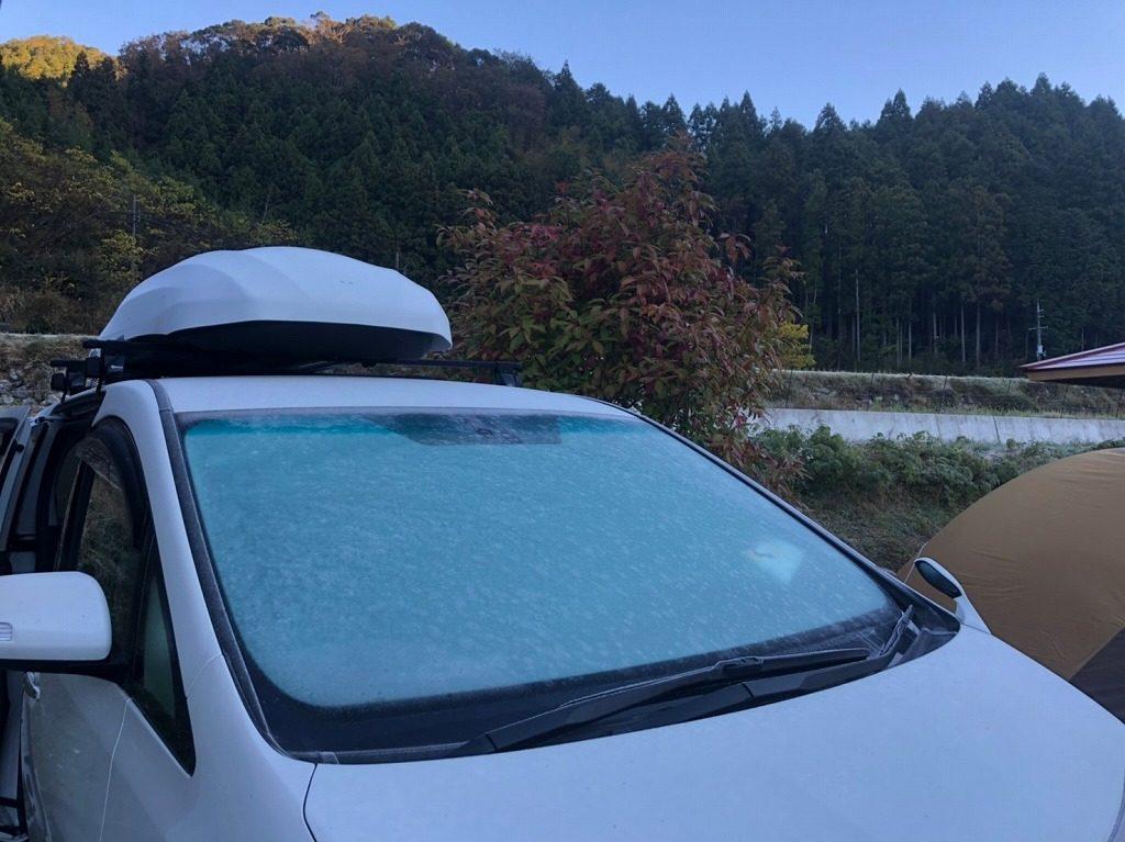 朝は霜で凍る