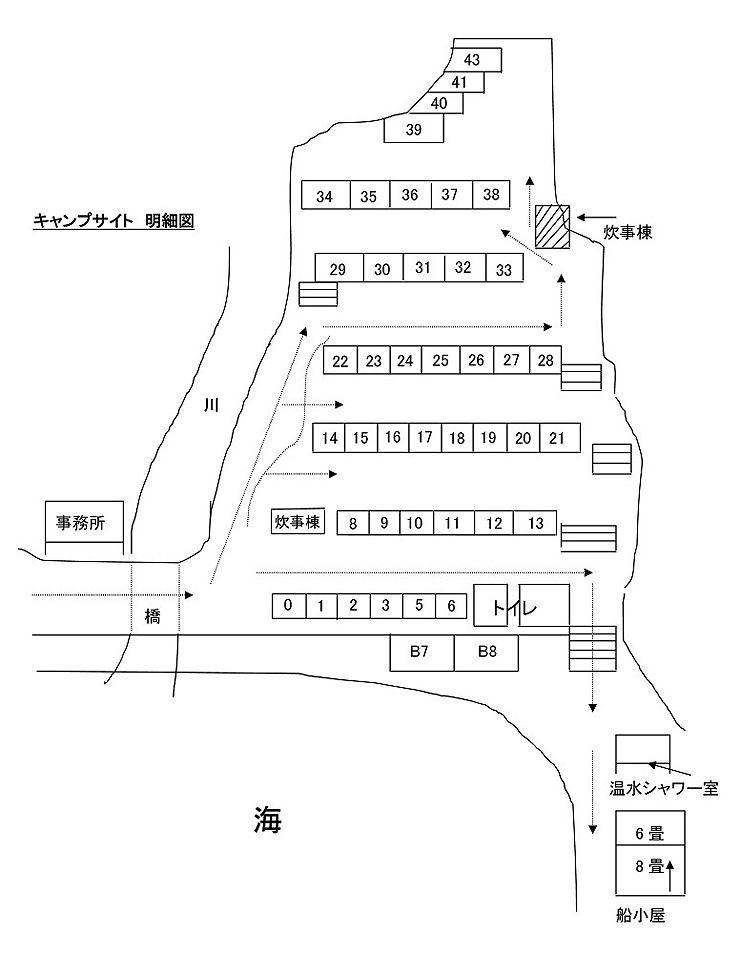 ヒロセオートキャンプ場のサイトマップ